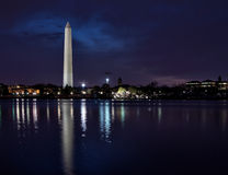 Panoramic view of illuminated Washington Monument Royalty Free Stock Images