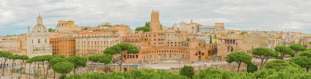 Panoramic view at Imperial Fora in Rome, Italy Royalty Free Stock Photography