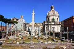Panoramic view of Imperial forum - Rome, Italy Royalty Free Stock Photos