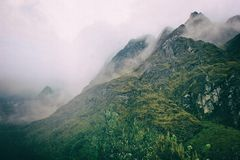 Andes mountains in mist on the Inca Trail. Peru. South America. No people. stock photo