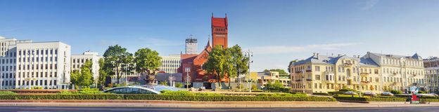 Panoramic view on Independence Square Minsk city, Belarus stock photography