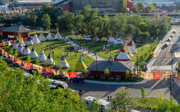 Panoramic view of the Indian Village at the Calgary Stampede Royalty Free Stock Images