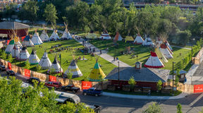 Panoramic view of the Indian Village at the Calgary Stampede. CALGARY, CANADA - JULY 8: Panoramic view of the Indian Village at the Calgary Stampede on July 8 stock photography