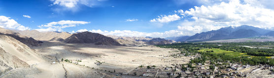 Panoramic view of Indus Valley from Thikse Gompa in Ladak, India. Royalty Free Stock Image