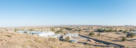 Panoramic view of the industrial area of Keetmanshoop. KEETMANSHOOP, NAMIBIA - JUNE 13, 2017: A panoramic view of the industrial area of Keetmanshoop, the Stock Image