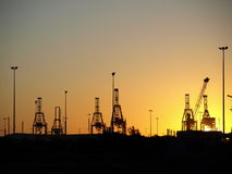 Panoramic view of industrial docks on sunset Stock Image