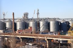 Industrial tanks in the harbour of Odessa, Ukraine. stock images