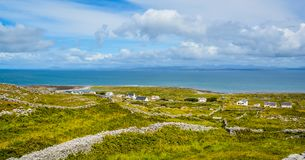 Panoramic view in Inishmore, Aran Islands, Ireland. Inishmore is one of western Ireland`s Aran Islands. It sits at the mouth of Galway Bay and is known for Royalty Free Stock Photography
