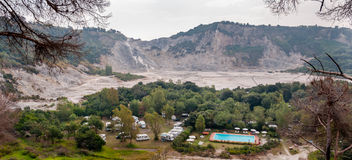 Panoramic view of inside crater of active vulcano Solfatara Royalty Free Stock Image