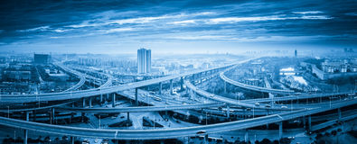 Panoramic view of interchange overpass bridge Stock Image