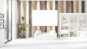 Panoramic view in interior with white leather couch, empty frame and copyspace in horizontal arrangement. 3D rendering. Stock Photography