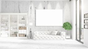 Panoramic view in interior with white leather couch, empty frame and copyspace in horizontal arrangement. 3D rendering. Stock Photos