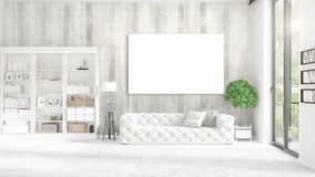 Panoramic view in interior with white leather couch, empty frame and copyspace in horizontal arrangement. 3D rendering. Royalty Free Stock Photo