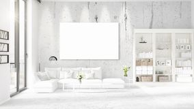 Panoramic view in interior with white leather couch, empty frame and copyspace in horizontal arrangement. 3D rendering. Royalty Free Stock Photos