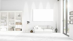 Panoramic view in interior with white leather couch, empty frame and copyspace in horizontal arrangement. 3D rendering. Stock Images