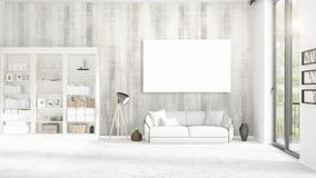 Panoramic view in interior with white leather couch, empty frame and copyspace in horizontal arrangement. 3D rendering. Stock Photo
