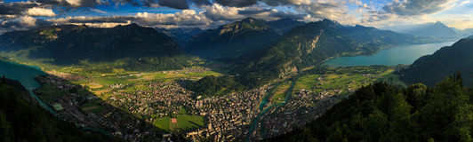Panoramic view of Interlaken cityscape from Harderkulm ,Switzerl. And Royalty Free Stock Images