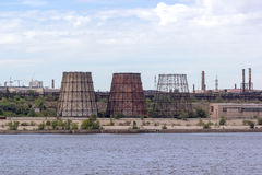 Panoramic view of ironworks on river coastline Royalty Free Stock Image