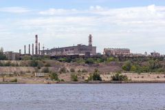 Panoramic view of ironworks on river coastline Royalty Free Stock Photo