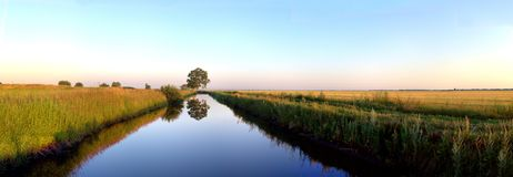 Panoramic view of the irrigation canal and the tree reflected in the water surface. Morning view of the irrigation canal and the tree reflected in the water royalty free stock image