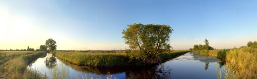 Morning view of the irrigation canal and trees reflected in the water. Panoramic view of the irrigation canal and trees reflected in the water. Panorama stock image