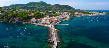 Panoramic view of Ischia town from Aragonese Castle. Italy. Royalty Free Stock Image
