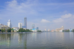 Panoramic view of Iset river, Plotinka park, Yekaterinburg city, Russia Royalty Free Stock Photos
