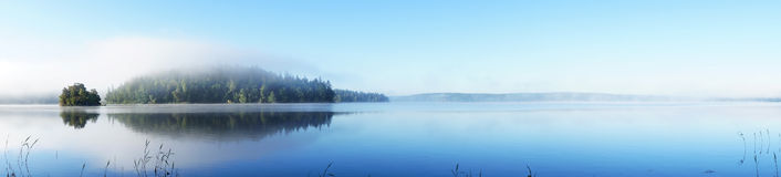 Panoramic view of island. On beautiful foggy morning Stock Image