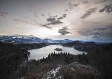 Panoramic view of island with church in the middle of Lake Bled Stock Images