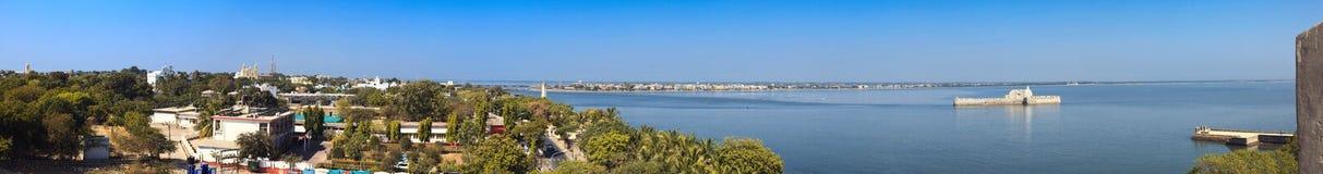 Panoramic view of island Diu. Panoramic view of Diu and Ghoghola from the wall of Diu fort. Diu, India Royalty Free Stock Image