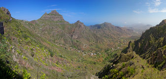 Panoramic view of island of Sao Nicolau, Cape Verde Royalty Free Stock Images