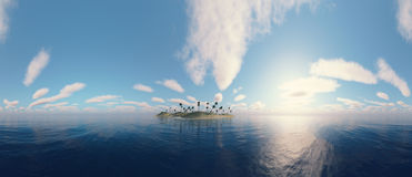 Panoramic view of a island. Royalty Free Stock Photo