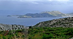 A panoramic view of the islands in the Aegean Sea near the island of Samos royalty free stock photos