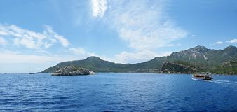 Panoramic view of islands in the sea Royalty Free Stock Image