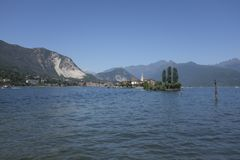 Panoramic view of Isola dei Pescatori on Lake Maggiore. View of Fishermen Island from Palazzo Borromeo on Isola Bella, Stresa Royalty Free Stock Photos