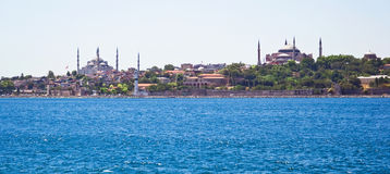 Panoramic view of Istanbul. Sultanahmet district with famous Mosques Royalty Free Stock Photo