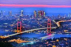 Panoramic view of Istanbul with the Bosphorus Bridge. Over Bosphorus strait royalty free stock image