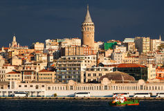 Panoramic view of Istanbul city. View of Bosphorus and Galata Tower in Istanbul city, Turkey Royalty Free Stock Photography
