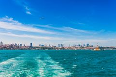 Panoramic view of Istanbul. Panorama cityscape of famous tourist destination Bosphorus strait channel. Travel landscape Bosporus, stock photography