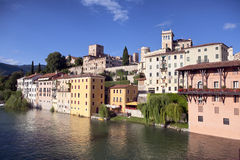 Panoramic view of Italian city Bassano del Grappa Royalty Free Stock Photography