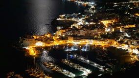 Panoramic view Italian Town Castellammare del Golfo by night moonlight. Panoramic view of Italian Town Castellammare del Golfo by night moonlight stock video