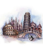 The panoramic view of Italy watercolor Stock Images