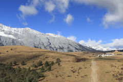 Panoramic view of the Jade Dragon Snow Mountain in Yunnan, China Royalty Free Stock Photos