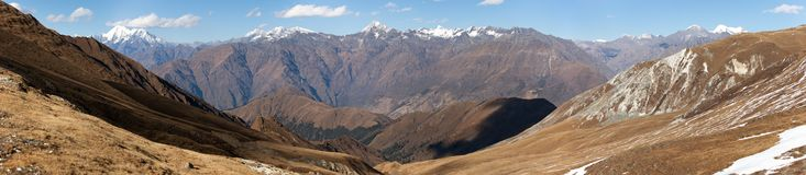 Panoramic view from Jang La pass to Lower Dolpo area Stock Images