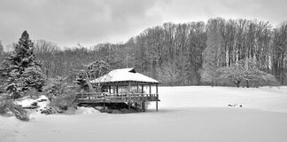 Panoramic view of Japanese Pagoda in the snow Royalty Free Stock Photography