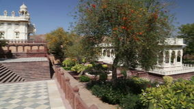 Panoramic view of Jaswant Thada temple and its garden from the patio. stock video
