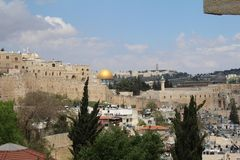 Panoramic view of Jerusalem with Dome of the rock and Temple Mount from Mount of Olives, Jerusalem stock images