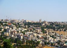Panoramic view of Jerusalem and the Dormition Abbey on Mount Zion from the Mount of Olives. Jerusalem, Israel. June 2014 stock photography