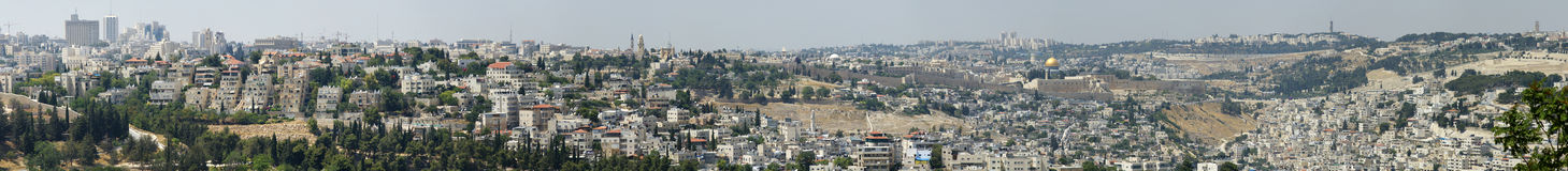 Panoramic View of Jerusalem Old City Stock Images
