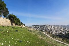 Panoramic view of Jerusalem outside Old City Walls. Green hills, Stock Photography